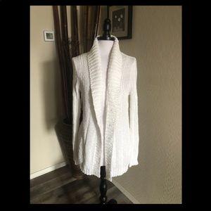 J. Crew Pretty Pure White Long Cotton Cardigan